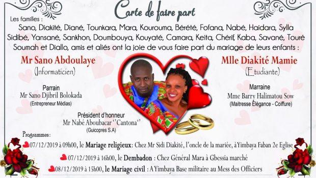 Mariage, 07 et 08 décembre 2019 : Mr Sano Abdoulaye dit OUI à Mlle Mamie Diakité!